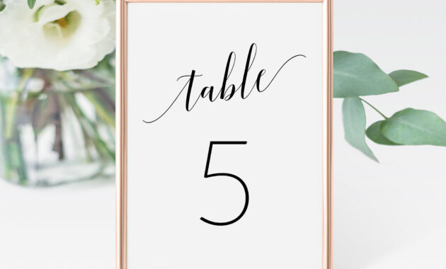 Wedding Table Number Cards Template, Printable Table Numbers Wedding, Table  Seating Card, Table Numbers Printable, Table Card Number Sav-062 pertaining to Table Number Cards Template