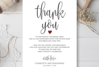 Wedding Thank You Note, Printable Thank You Card Template pertaining to Template For Wedding Thank You Cards