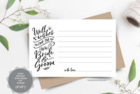 Wedding Well Wishes Card Template For The New Bride And within Marriage Advice Cards Templates