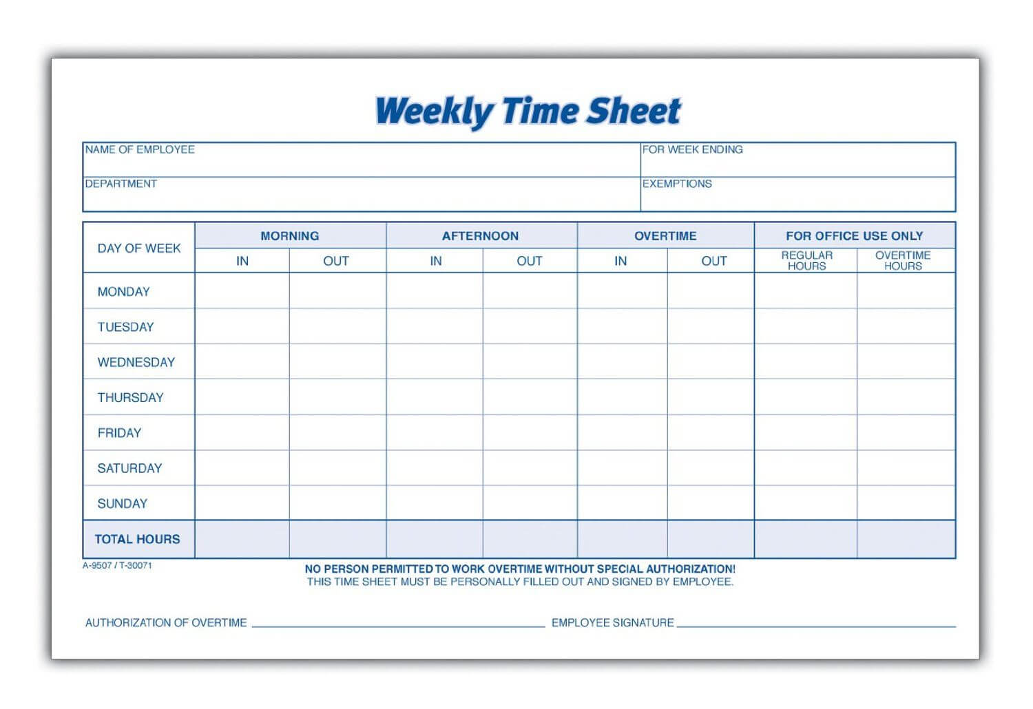 Weekly Employee Time Sheet | Good To Know | Timesheet for Weekly Time Card Template Free