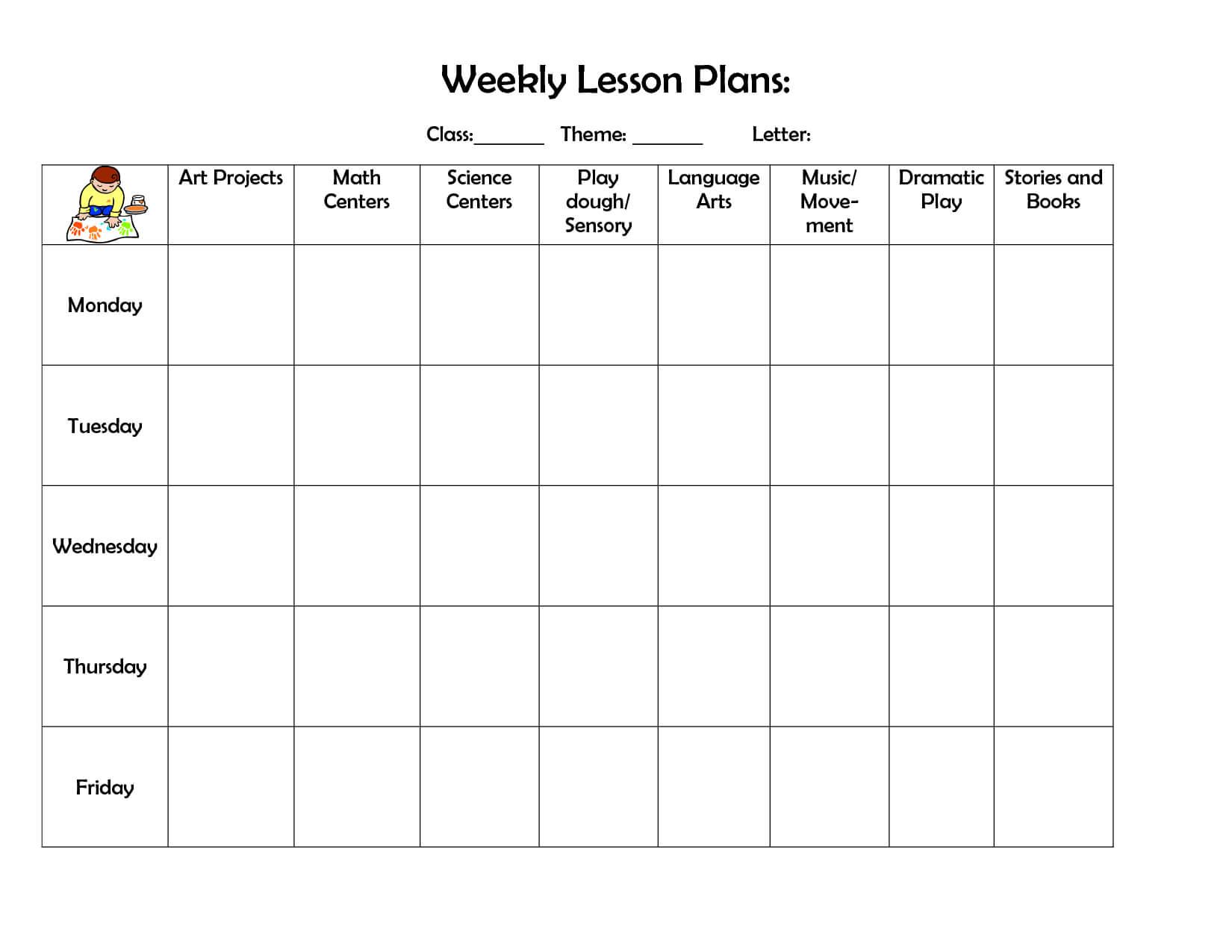 Weekly Lesson Plan | Preschool Lesson Plan Template, Daycare Regarding Blank Preschool Lesson Plan Template