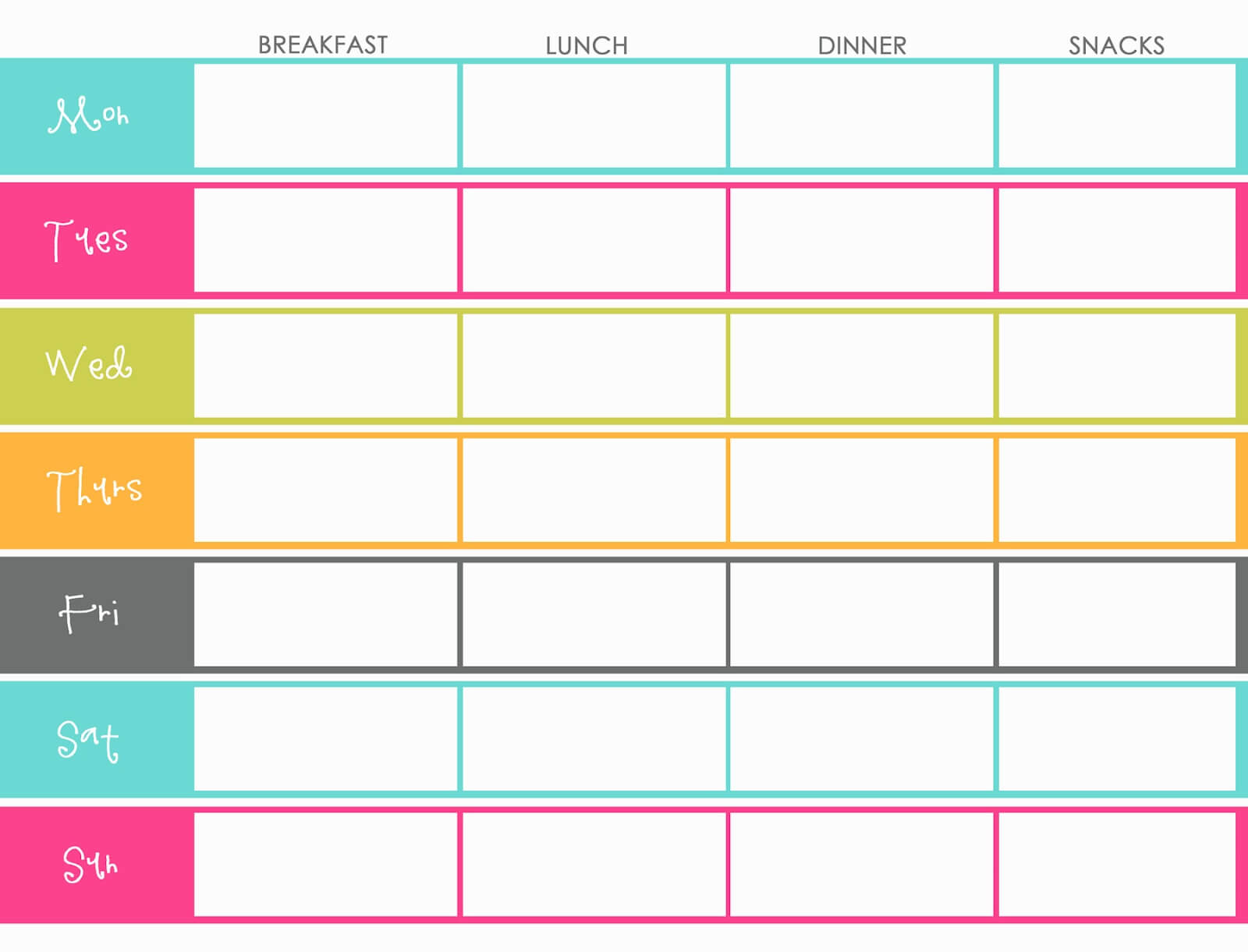 Weekly Meal Planner For Family Templates | Printable Weekly throughout Weekly Meal Planner Template Word