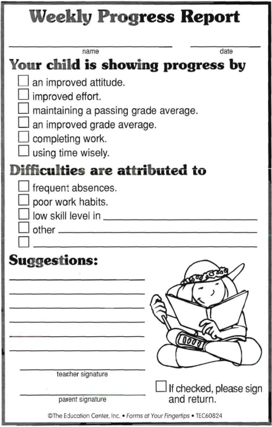 Weekly Progress Report | Ideas | Progress Report Template throughout Student Grade Report Template