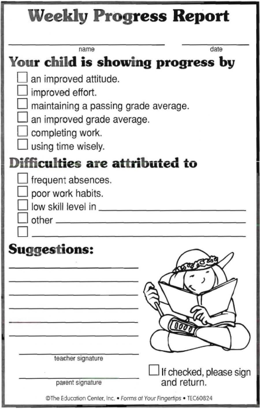 Weekly Progress Report | Progress Report, Progress Report Regarding Daily Behavior Report Template
