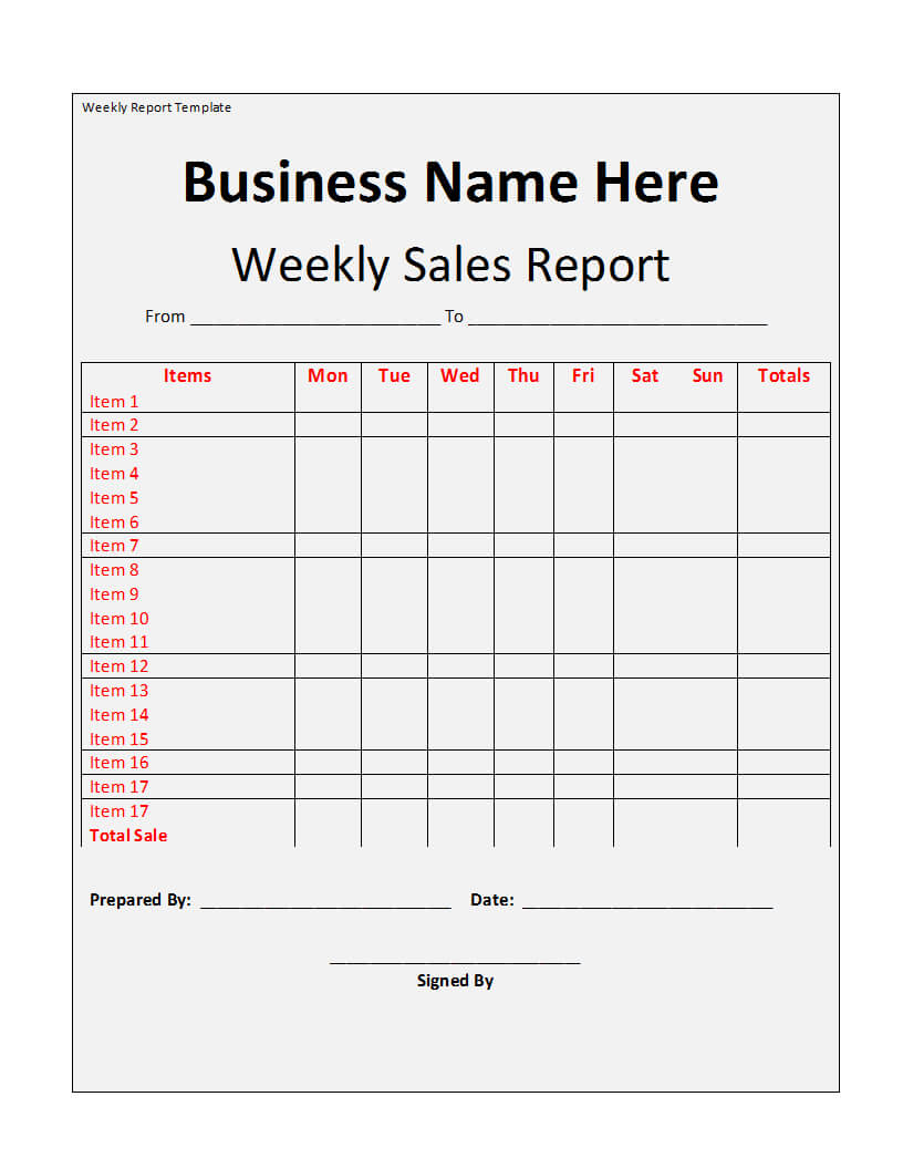 Weekly Report Template in Marketing Weekly Report Template