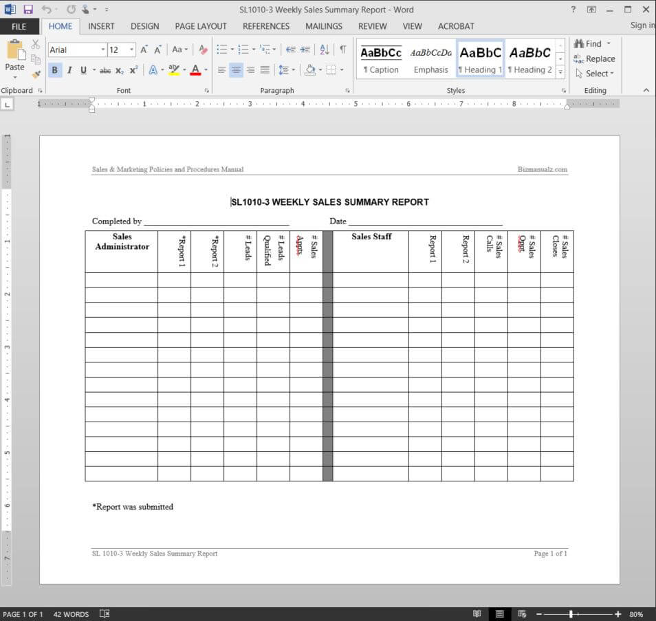 Weekly Sales Summary Report Template | Sl1010 3 In Sales Representative Report Template