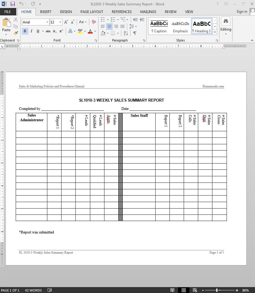 Weekly Sales Summary Report Template | Sl1010-3 with regard to Weekly Manager Report Template