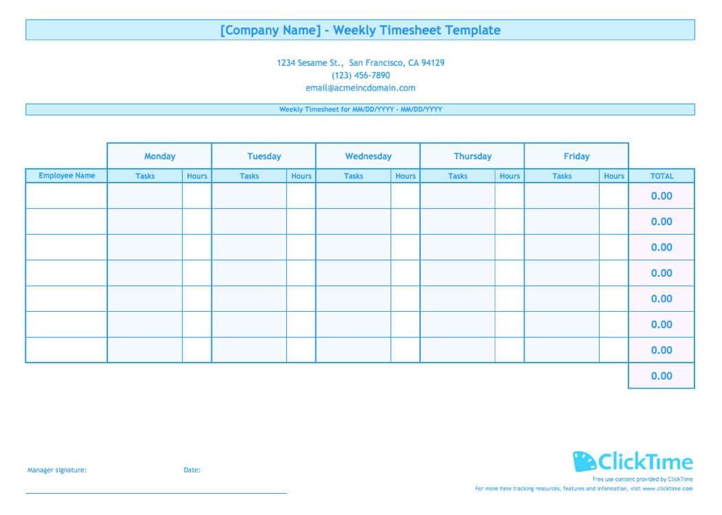 Weekly Timesheet Template For Multiple Employees | Clicktime regarding Weekly Time Card Template Free