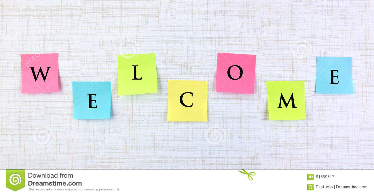 Welcome Banner With Sticky Notes Stock Image - Image Of regarding Welcome Banner Template