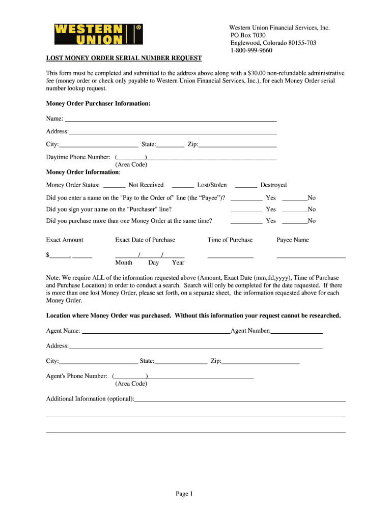 Western Union Form - Fill Online, Printable, Fillable, Blank pertaining to Blank Money Order Template