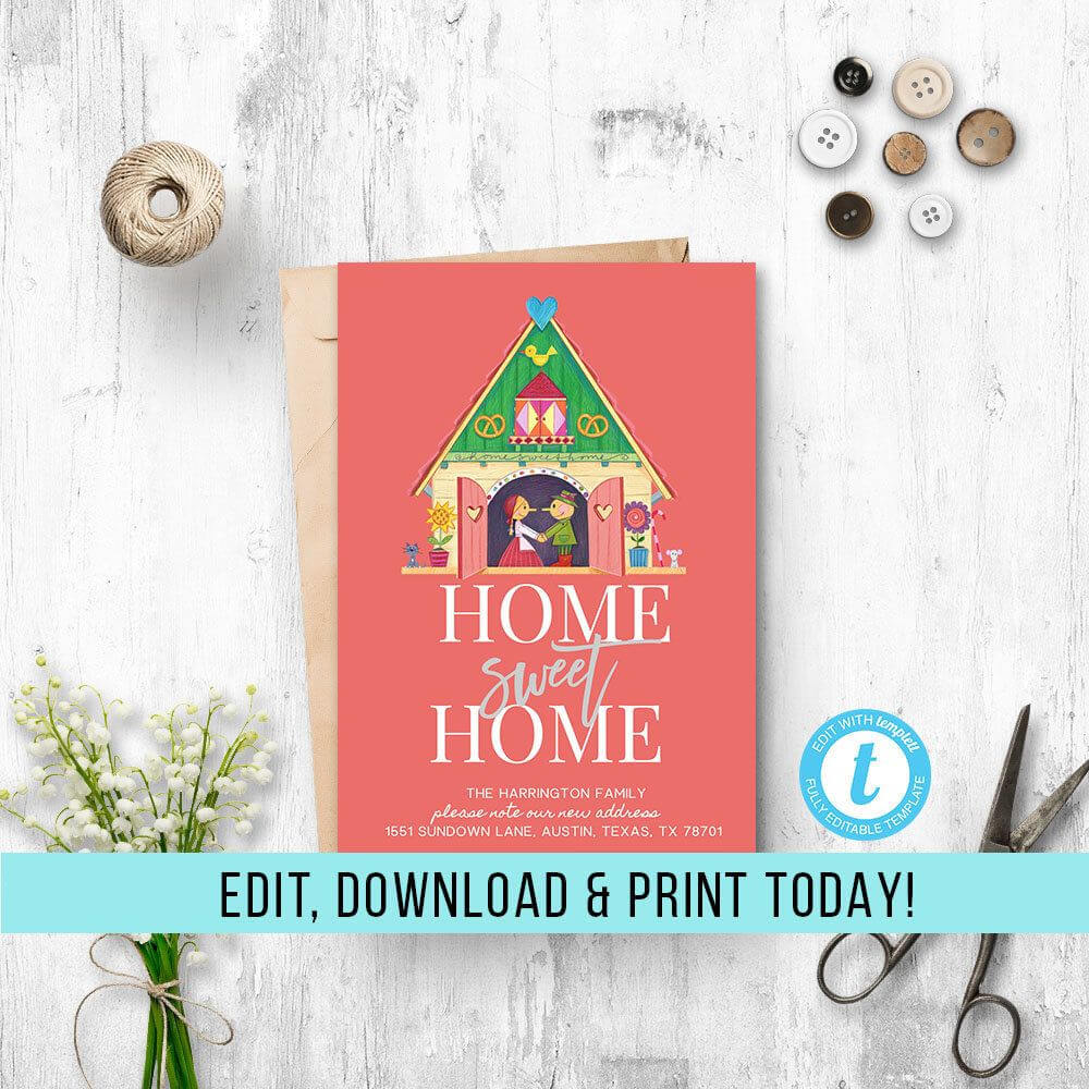 We've Moved Announcement Template, Printable Moving pertaining to Moving Home Cards Template
