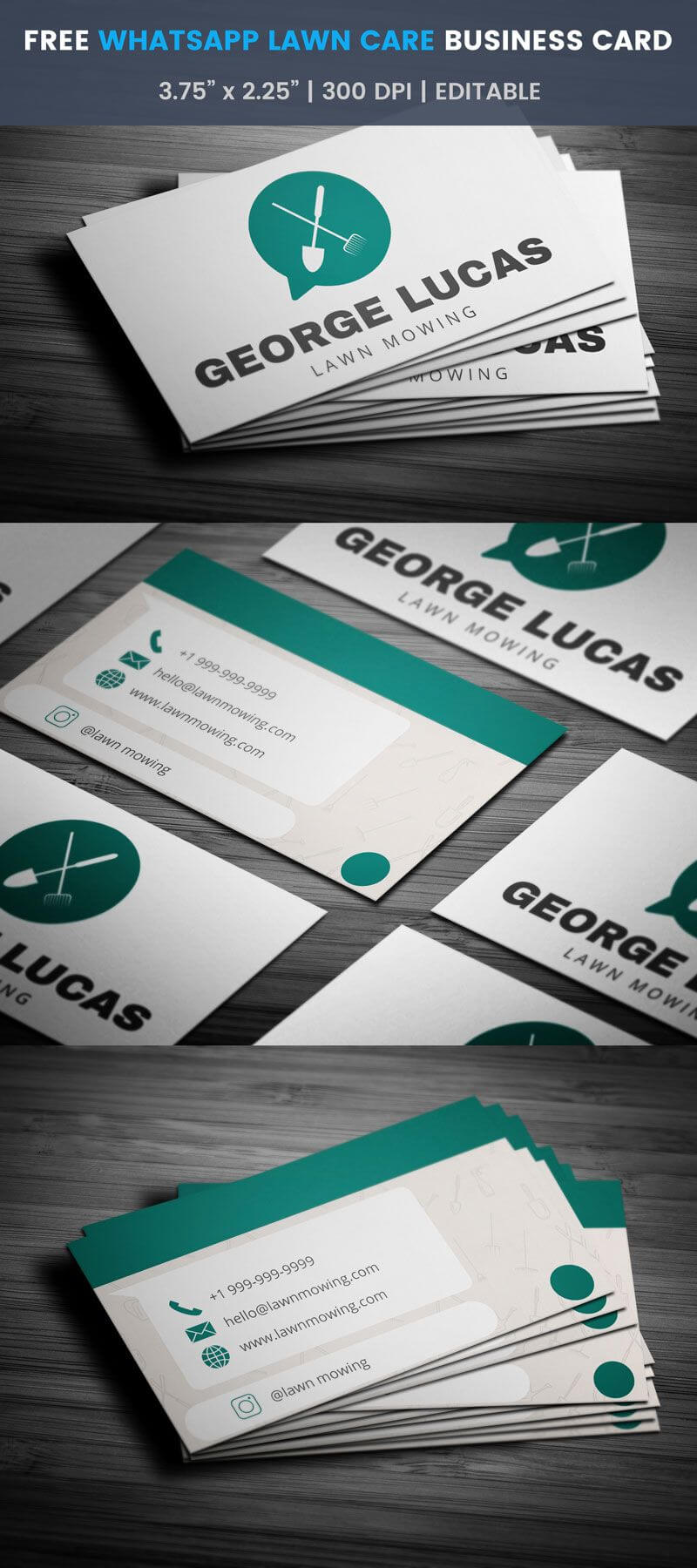 Whatsapp Themed Lawn Care Business Card - Full Preview intended for Lawn Care Business Cards Templates Free