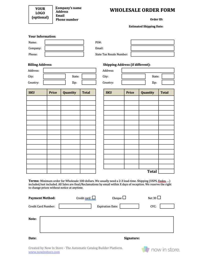 Wholesale Order Form Template - Create Your Own For Free within Order Form With Credit Card Template