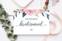 Will You Be My Bridesmaid Card Bridesmaid Proposal Card Floral Bridesmaid  Card Maid Of Honor Proposal Pink Navy Printable 100-03Bp with Will You Be My Bridesmaid Card Template