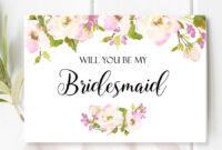 Will You Be My Bridesmaid Card. With Beautiful And Romantic throughout Will You Be My Bridesmaid Card Template
