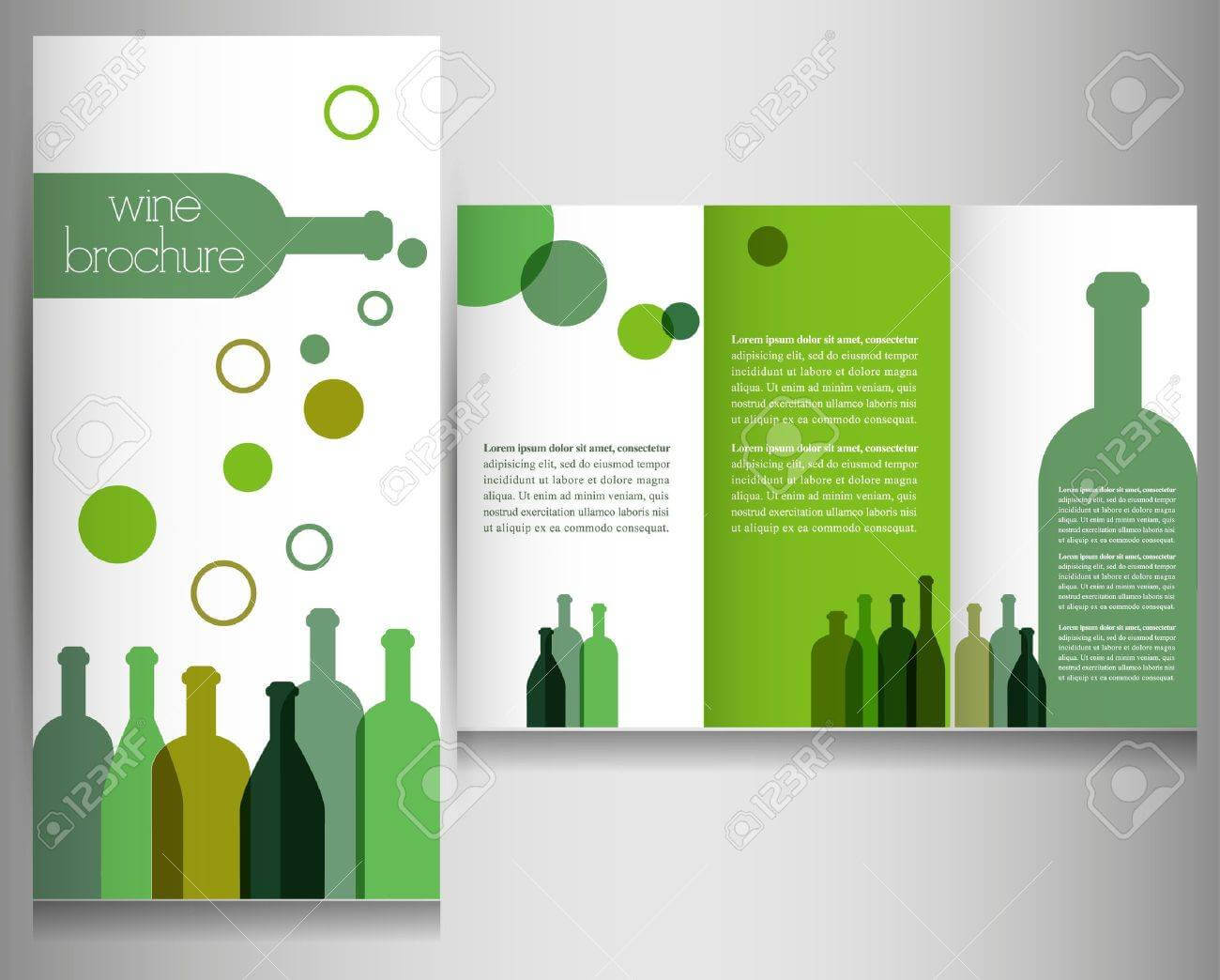 Wine Brochure Design Template Vector Within Wine Brochure Template