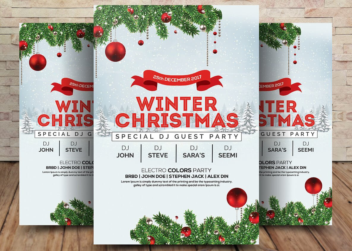 Winter Wonderland Christmas - Psd Flyer Template - Free Psd pertaining to Christmas Brochure Templates Free