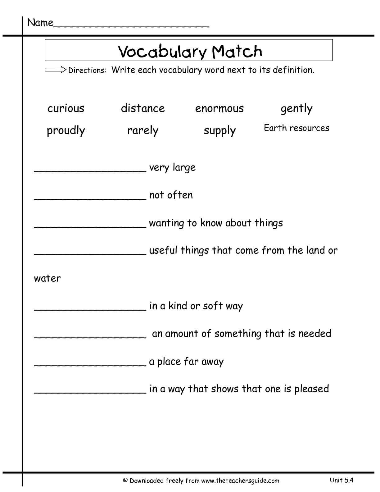 Wonders Second Grade Unit Five Week Four Printouts Pertaining To Vocabulary Words Worksheet Template