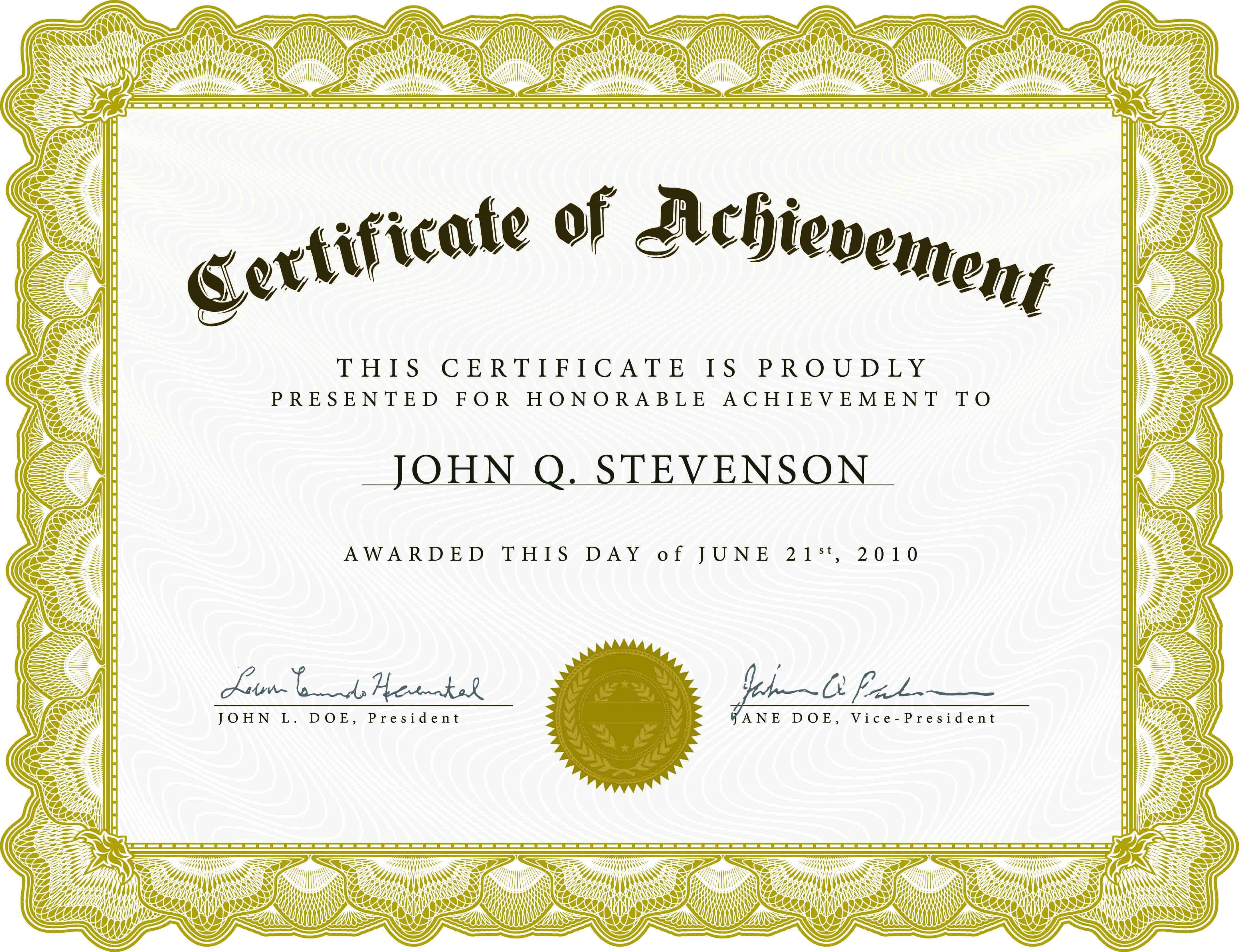 Word Award Template Printable Rental Agreement Lease With Word Certificate Of Achievement Template