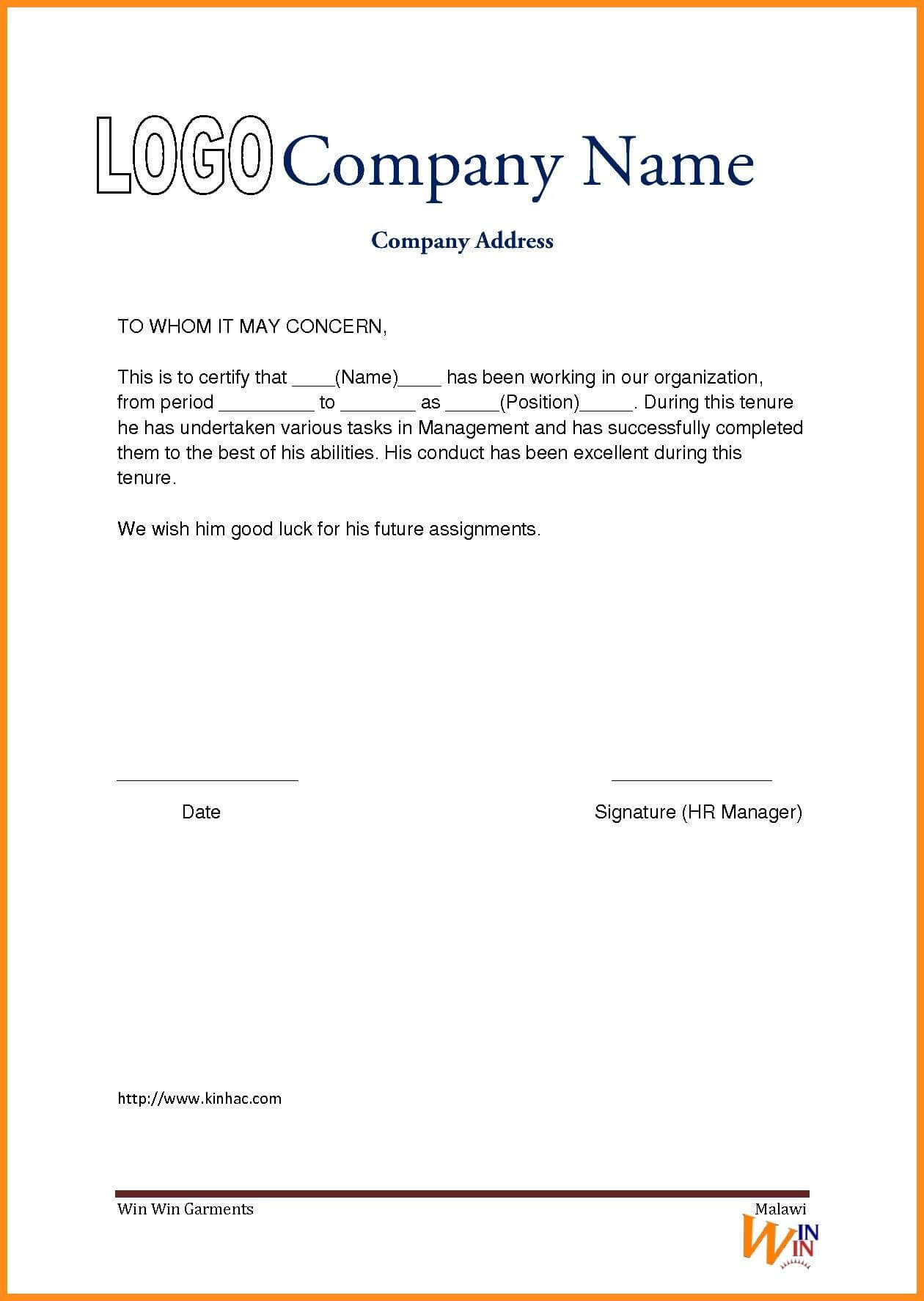 Work Experience Certificate Sle Doc Refrence Work | Resume For Certificate Of Experience Template
