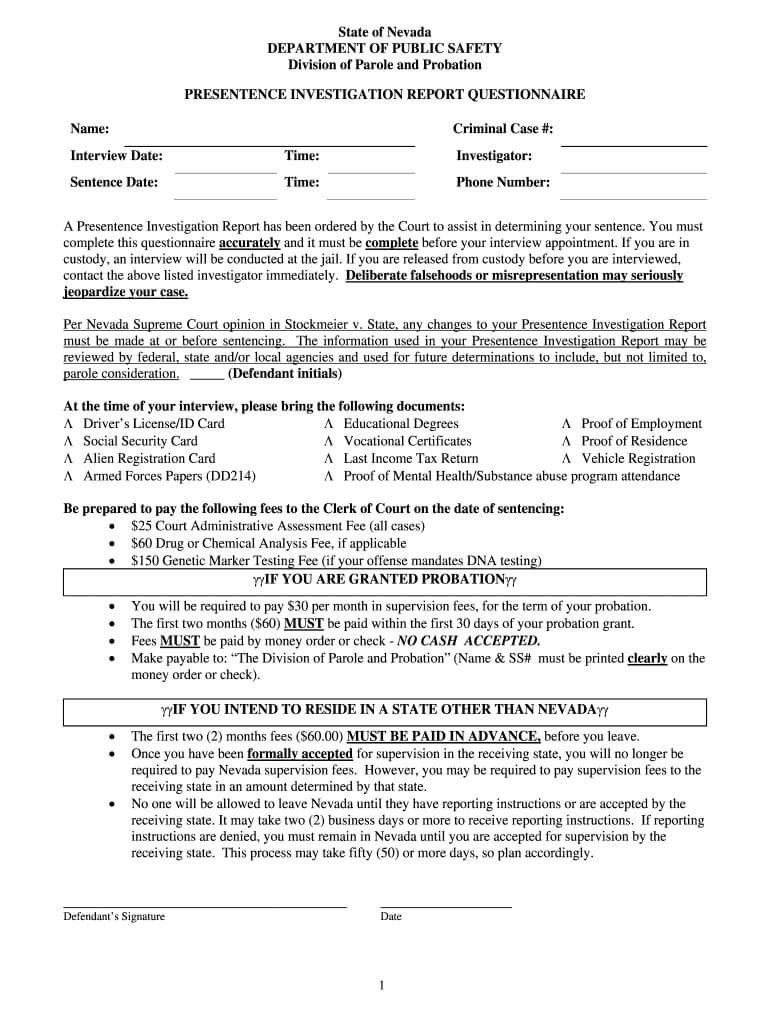 Worksheet For Pre Sentence Report - Fill Online, Printable With Presentence Investigation Report Template