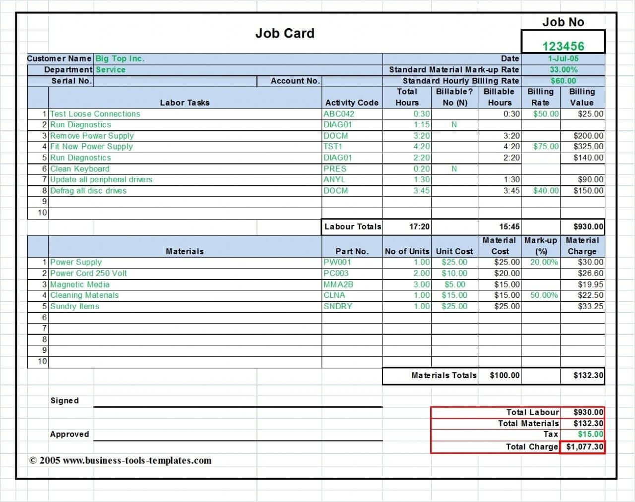 Workshop Job Card Template Excel, Labor & Material Cost in Sample Job Cards Templates