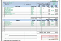 Workshop Job Card Template Excel, Labor & Material Cost within Construction Cost Report Template