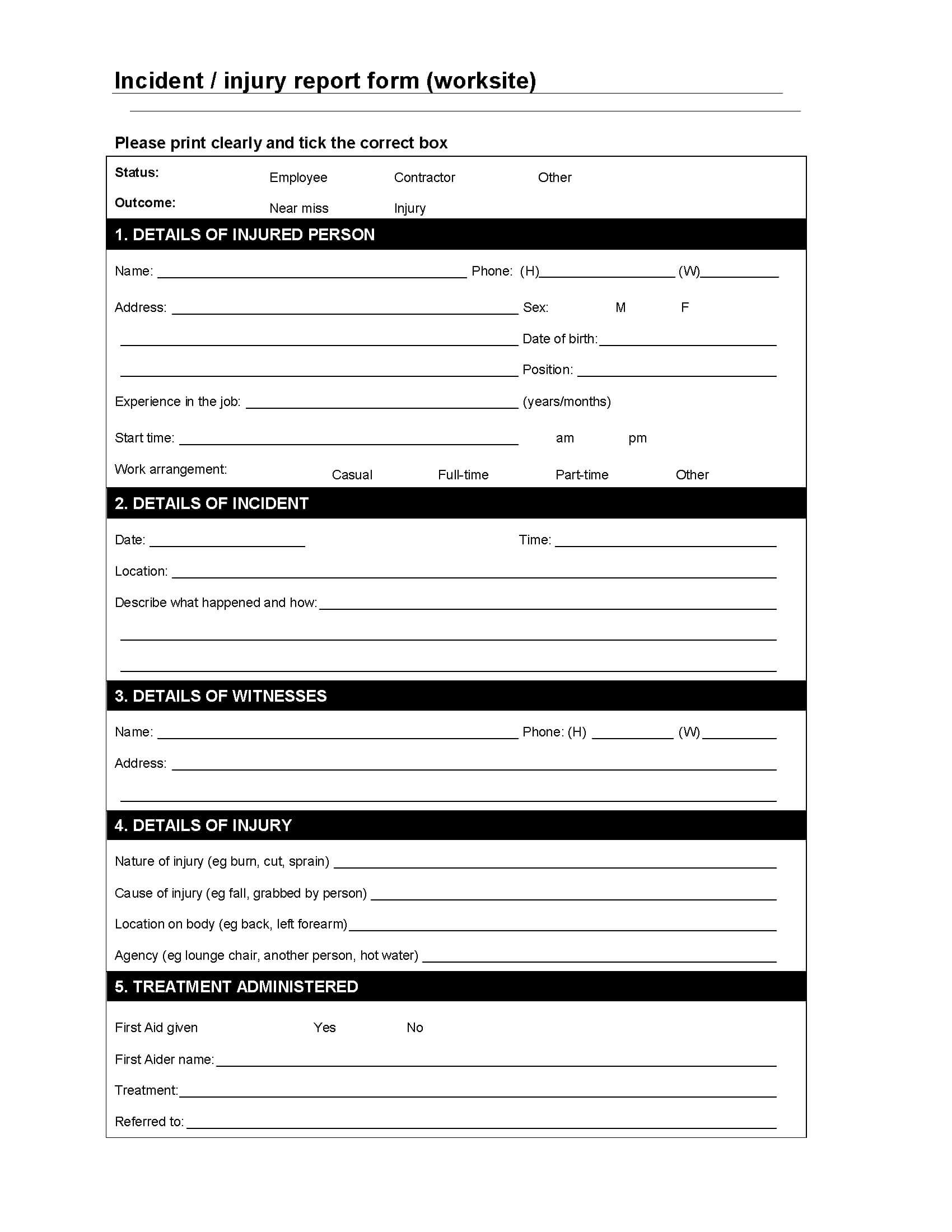 Worksite Incident / Injury Report Form | Legal Forms And intended for Injury Report Form Template