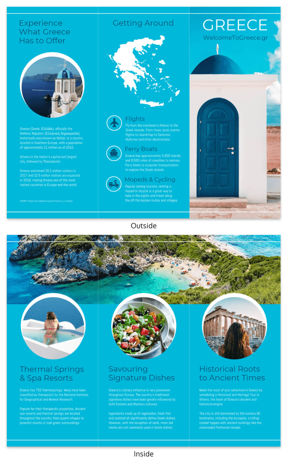 World Travel Tri Fold Brochure Template - Venngage throughout Country Brochure Template
