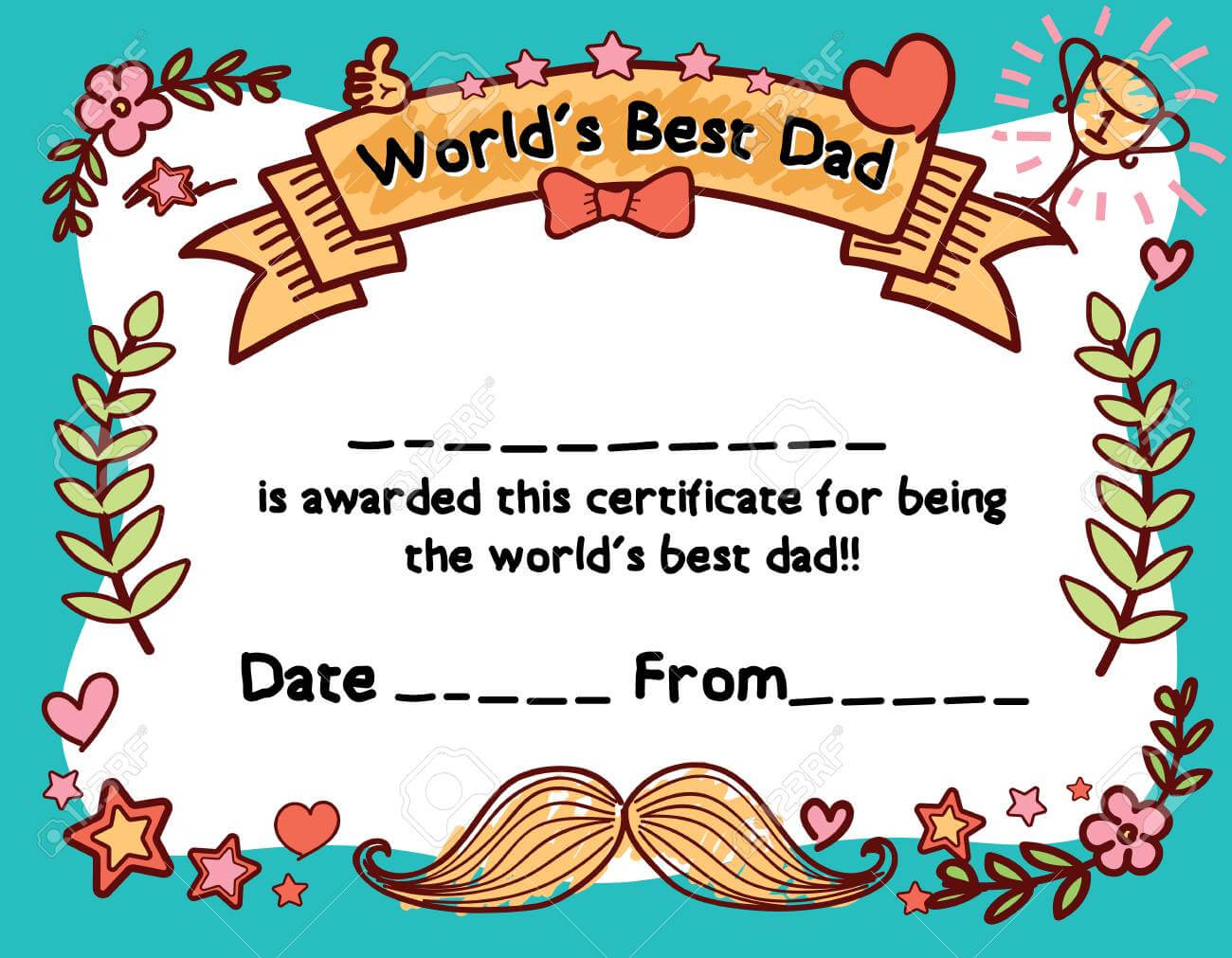 World's Best Dad Award Certificate Template For Father's Day inside Player Of The Day Certificate Template