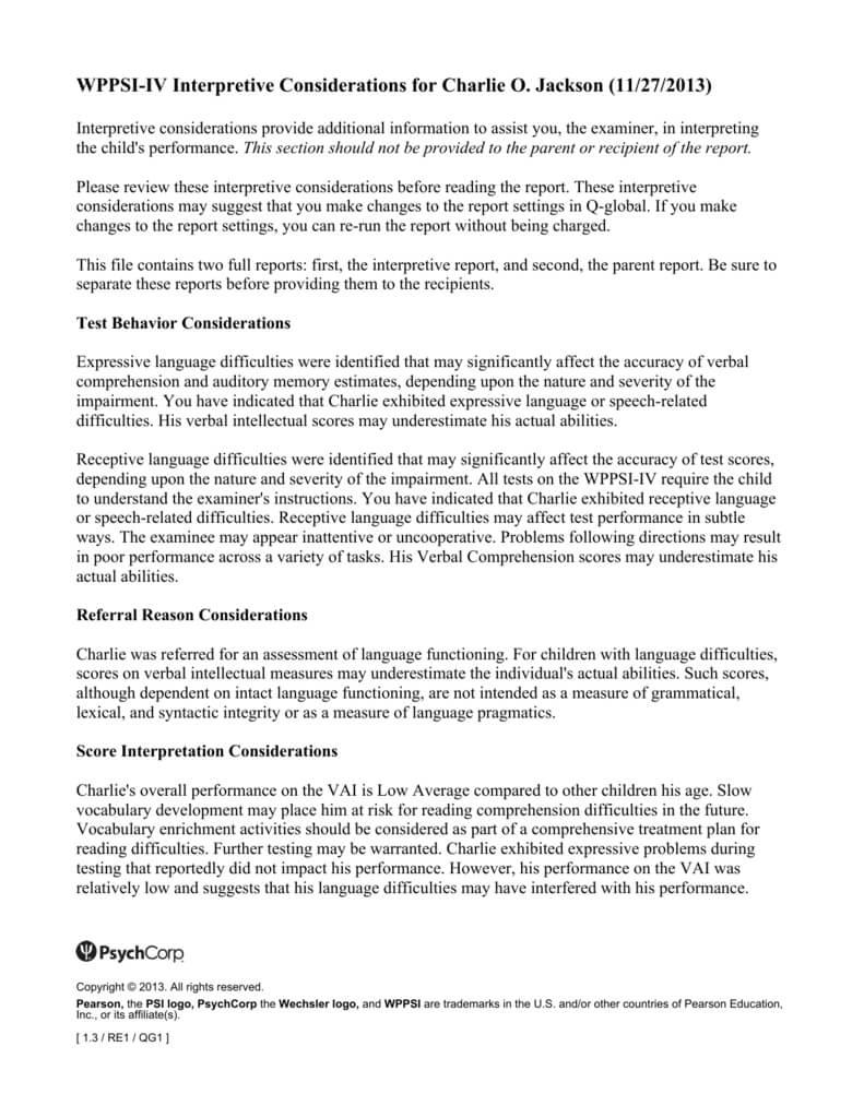 Wppsi Iv Interpretive Report Sample For Wppsi Iv Report Template