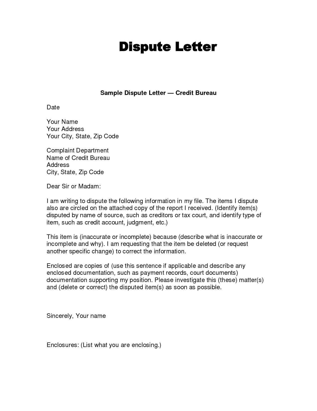 Writing Dispute Letter Format | Credit Bureaus, Lettering Inside Credit Report Dispute Letter Template