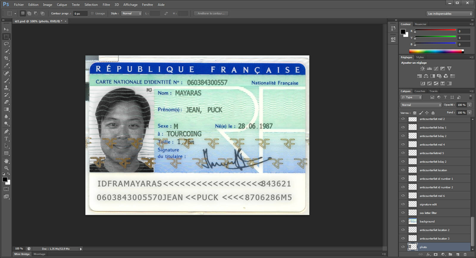 Xylibox: Fake French Administrative Documents within French Id Card Template