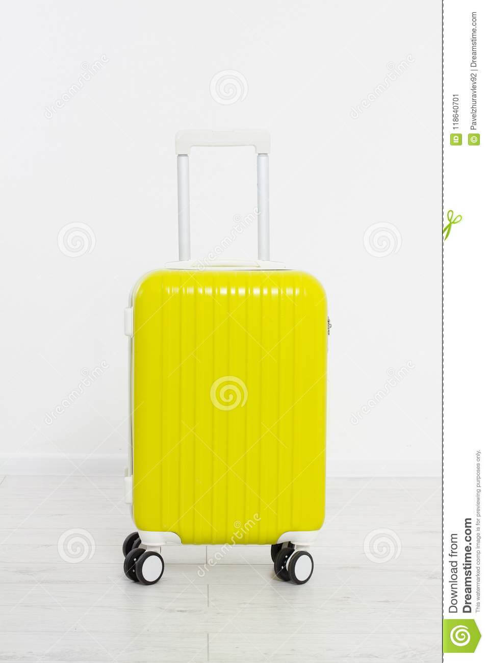 Yellow Suitcase On White Background .summer Holidays. Travel pertaining to Blank Suitcase Template