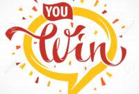 You Win , Vector Congratulation Banner Template With Lettering.. for Congratulations Banner Template