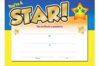 You're A Star! Award Gold Foil-Stamped Certificate pertaining to Promotion Certificate Template