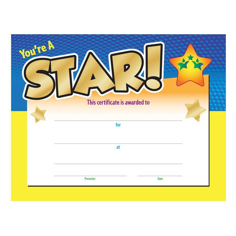 You're A Star! Award Gold Foil Stamped Certificate Pertaining To Star Award Certificate Template