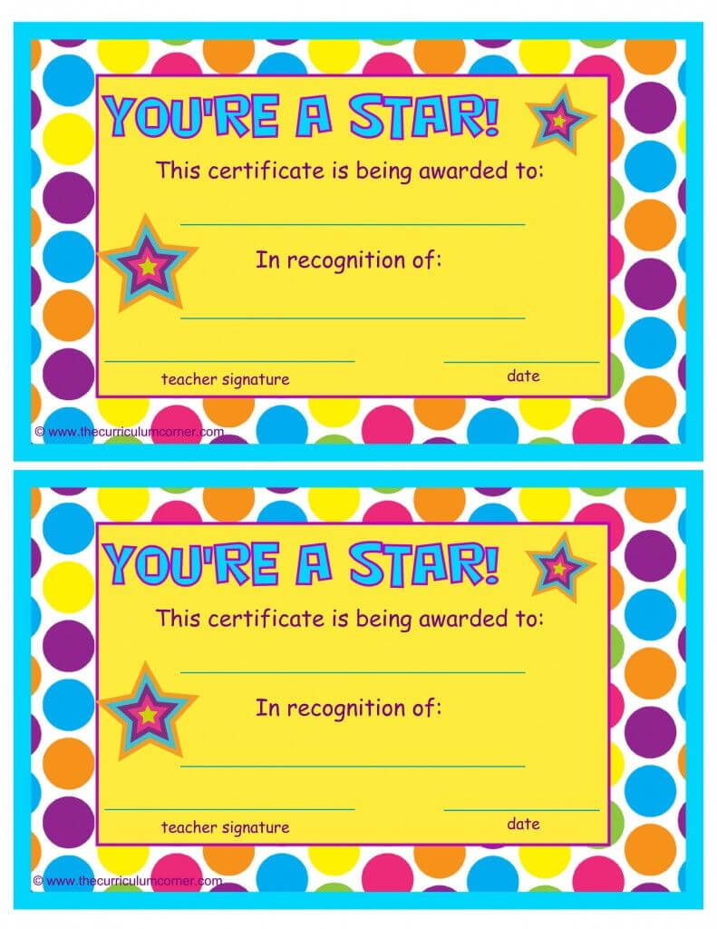 You're A Star End Of The Year Certificates | End Of The Inside Star Of The Week Certificate Template