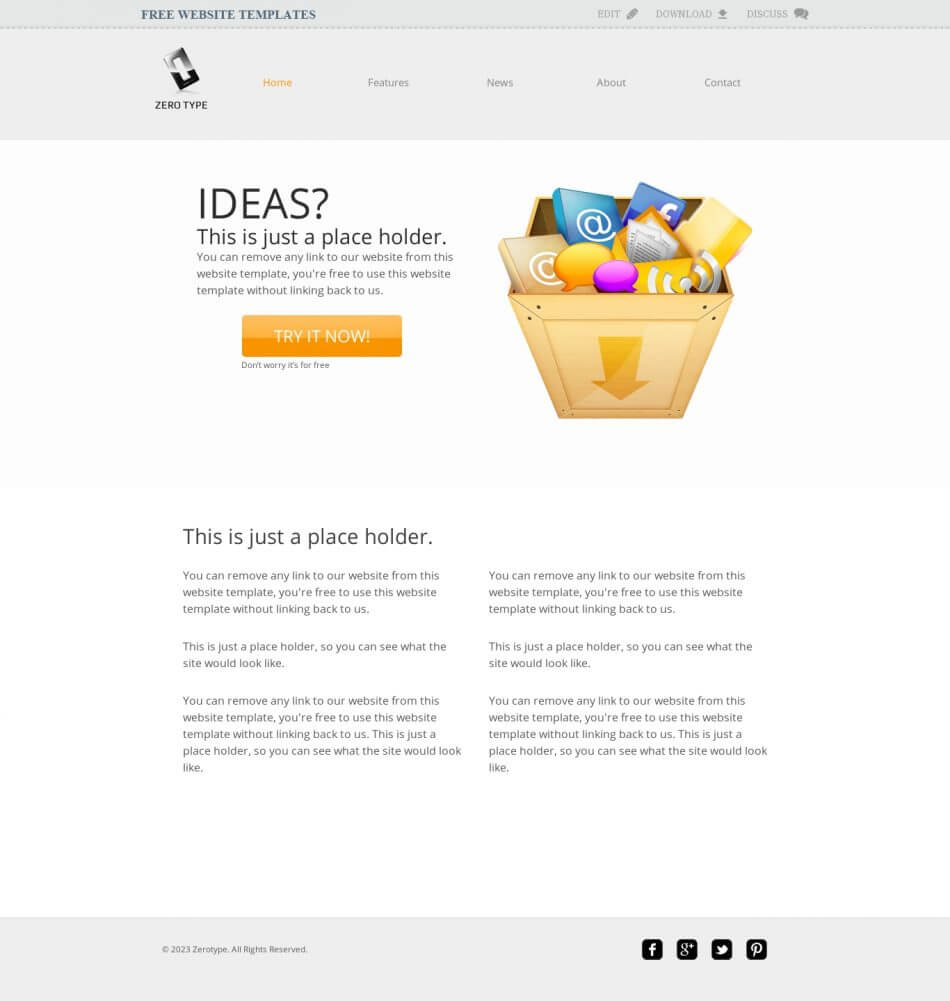 Zerotype A Blank Canvas Template - Web Template » All Free Inside Blank Food Web Template